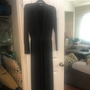 Long sleeve deep V gown